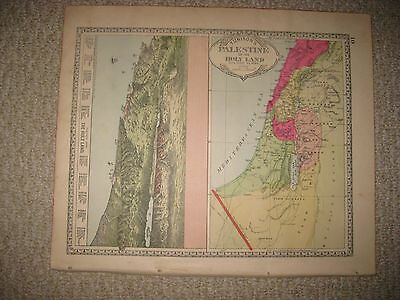Antique 1885 Palestine Israel Holy Land Handcolored Map W Birds Eye View Print N