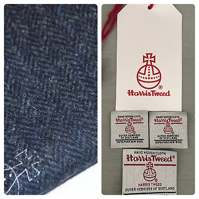 Harris Tweed Fabric & labels BLUE HERRINGBONE upholstery tailoring quilting sew