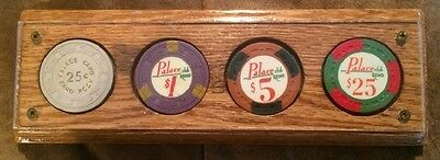 Palace Club Hotel 25¢, $1.00, $5.00, $25.00 Casino Chips Paperweight Reno Nevada