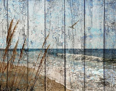 Rustic Coastal Ocean Beach Bathroom Bedroom Brown Blue Home Decor Matted Picture