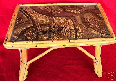 Lovely Primitive Antique Bamboo Step Stool Table Vintage Furniture