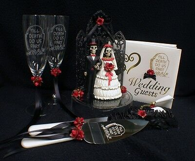 Day of the DEAD Halloween Wedding Cake Topper LOT Glasses Knife BOOK Halloween