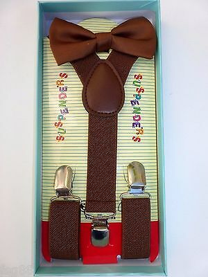 New Baby Toddler Kids Child Brown Suspenders Bow Tie Gift Box Set
