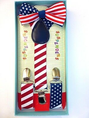 New Baby Toddler Kids Child US AMERICAN FLAG US Suspenders Bow Tie Gift Box Set