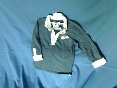 Baby Boys 18-24 Months - Blue & White Long Sleeve Top - Mothercare