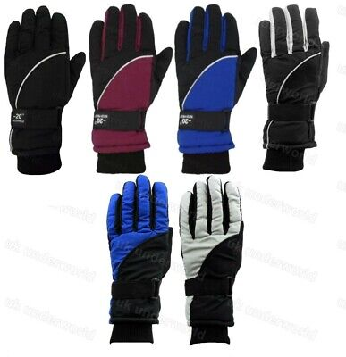 Boys Thermal Insulation Ski Gloves Childrens Winter Warm Waterproof Fleece Lined