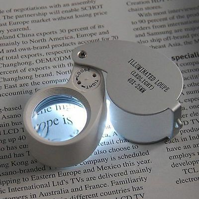NEW 40 x 25mm MAGNIFYING EYE GLASS PIECE JEWELERS LOUPE LOOP with LED LIGHT JL01