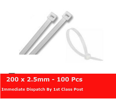 100 x Natural Cable Ties Tidies Zip Ties 200mm x 2.5mm Nylon Exceptional Quality