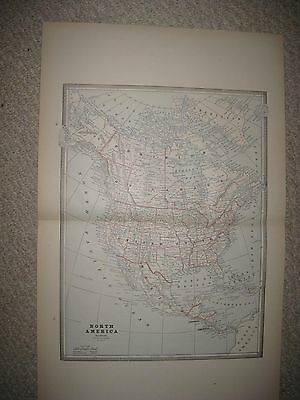 Large Gorgeous Antique 1885 North America Map United States Canada Texas Florida