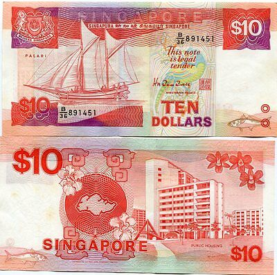 Singapore 10 Dollars Nd 1988 P 20 Aunc + Yellow Tone
