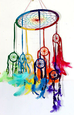 Jumbo DREAM CATCHER Hanging Mobile RAINBOW Native Indian Feather Large 25cm