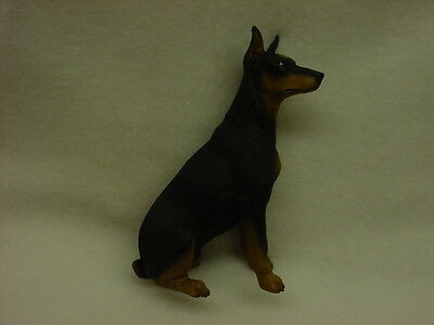 DOBERMAN PINSCHER FIGURINE dog HAND PAINTED STATUE black puppy NEW Dobie cropped