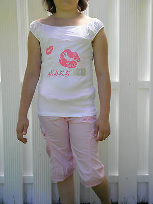 RAGAZZA ESTIVO SET DUE PEZZI - SHIRT + SHORT - COMBINATA DI ESTATE - Tgl 140