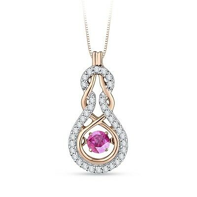 0.34ct Dancing Pink Sapphire And Diamond Pendant G-H SI In 10K Rose Gold