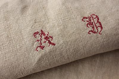Antique French linen washed kitchen hand tea towel soft AB monogram hemp