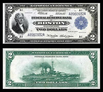 Nice Crisp Unc. 1918 $2.00 Federal Reserve Copy Note Read Description!
