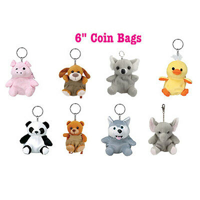 "8 Animal Plush Keychain Zippered 6"" Coin Bags Elephant Bear Duck Dog Panda Pig"