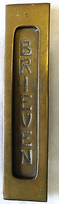 Gorgeous Antique Brass Dutch Door Mail Drop Slot Letters Vintage Knocker Brieven