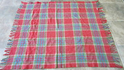 Vintage Wool Bed Blanket Sleep Tartan Plaid  Cover Throw Old Great Shape Saddle