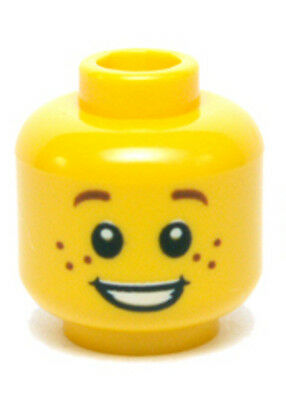 Lego Minifigure Head Brown Eyebrows Pupils Lopsided Smile /& Cheek Dimple H63