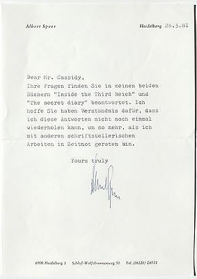 Albert Speer Chief Architect & Minister Armaments Germany Signed Letter ''Rare''