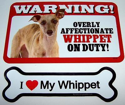 """Warning Overly Affectionate Whippet Wall Sign and 7"""" Plastic Magnet Dog Combo"""