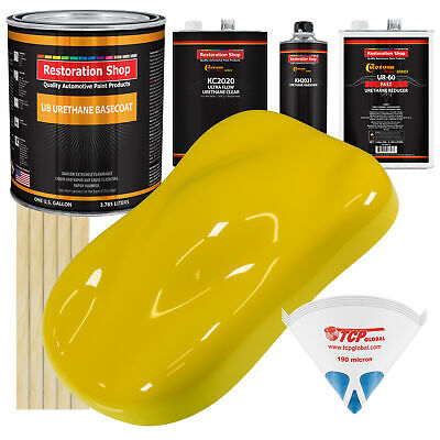 Electric Yellow Gallon URETHANE BASECOAT CLEARCOAT Auto Paint FAST Kit