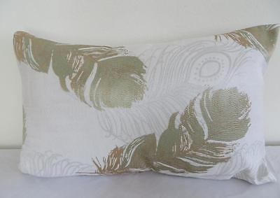 Green & Gold-Beige Peacock Feather Brocade Rectangular Cushion Cover 30x50