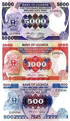 Uganda Set 3 Pcs 500 1000 5000 Shillings 1986 P 24 25 26 Unc