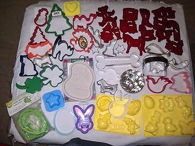 Lots Vintage 70 Cookie Biscuit Cutters Molds Metal Plastic Holidays Christmas