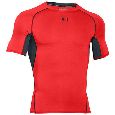 Under Armour Heatgear Compression Short Sleeve Shirt Red Black 1257468-984
