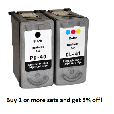 Remanufactured PG40 & CL41 Black & Colour Text Quality Ink Cartridges for Canon