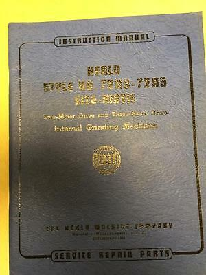Orig. Operator Parts Manual for Heald No. 72A3 72A5 Size-Matic Grinding Machine