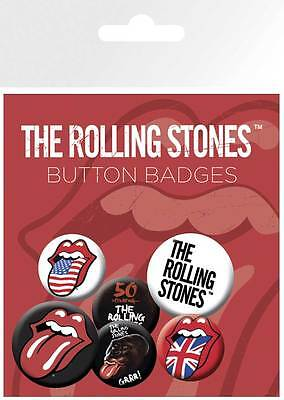 Rolling Stones Lips - 6 Ansteck Buttons für Fans