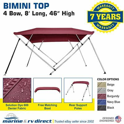 "New Bimini Top Boat Cover 4 Bow 46"" H 73"" - 78"" W 8 Foot Long Burgundy"