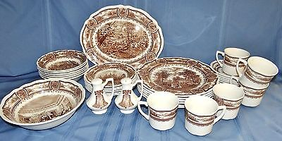 34 Pc Set of J & G Meakin AMERICANA Brown Ironstone 6 Place Settings Antique Vtg