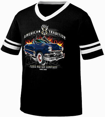 American Tradition Ford V8 Ford Motor Company 1912 Retro Ringer T-shirt