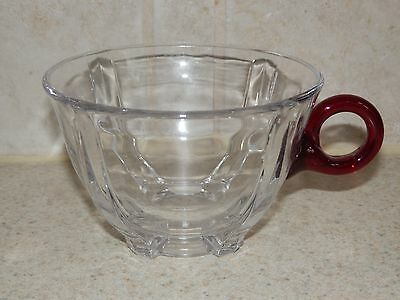 Duncan Miller Venetian Pattern Clear Punch Cup Applied Ruby Handle Excellent!!!!