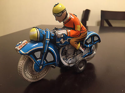 Vintage Style Friction Powered Tin Litho L Foreign Motorcycle Motorbike & Rider