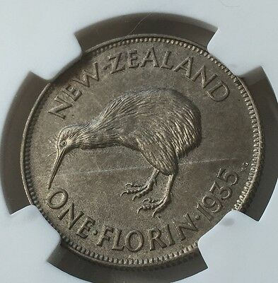 1935 New Zealand Florin Silver Proof Coin NGC PF65  2nd Top Grade 364 Minted