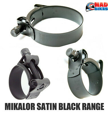 Satin Black Mikalor Supra Heavy Duty Stainless Steel Motorcycle Exhaust Clamp