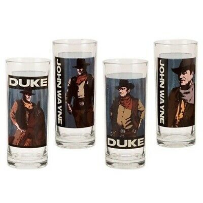John Wayne Character Names and Images 10 Oz. Glass Set of 4, NEW UNUSED