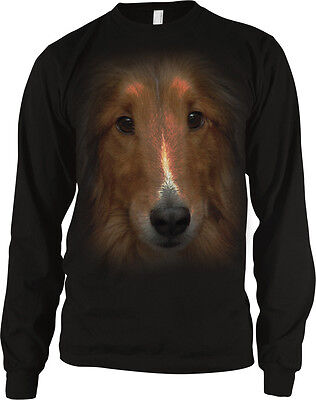 Big Collie Dog Head Canine Man/'s Best Friend Dog Lovers Long Sleeve Thermal