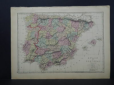 Antique Map, 1875, Europe, Spain & Portugal