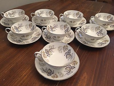 "Coalport ""CAMELOT""  China ~ Set of 8 ~ Cups and Saucers ~ 2 1/8"""