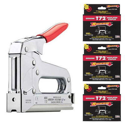 "Arrow Fastener T72 Wire/Cable Staple Gun, (900) 721189 T72 7/8"" Cable Staples"