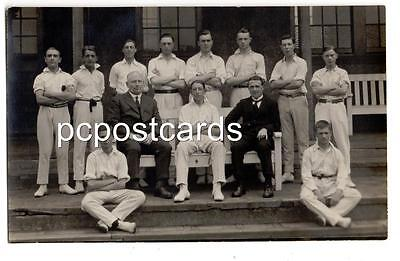 Uncaptioned Real Photo of Cricketers posed at Worcester Cricket Ground