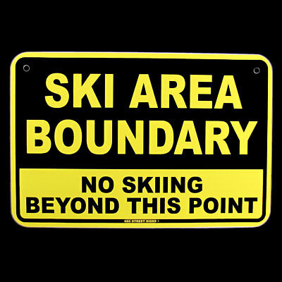 NO SKIING BEYOND POINT Ski Area Boundary Warning Sign Bar/Pub/Lodge Wall Decor