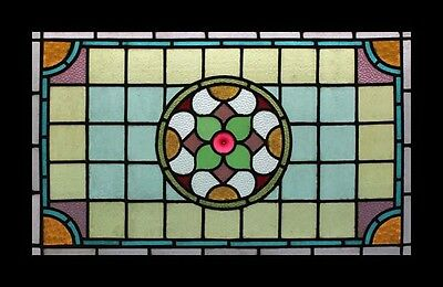 Amazing Victorian English Antique Stained Glass Window Adorned With Pink Rondel