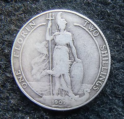 1907 Two Shillings Edward VII Florin Britiish Coin Scarce date nice condition VF